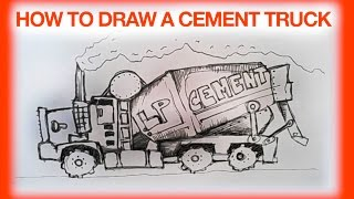 HOW TO DRAW  CEMENT TRUCK, REPLACIN