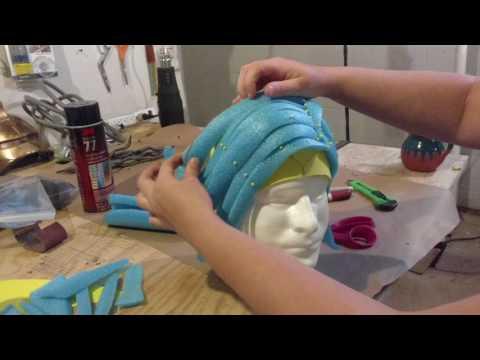 Pool noodle wig construction diy tutorial
