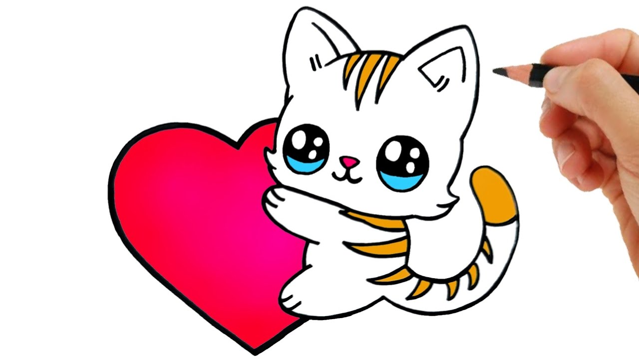 HOW TO DRAW A CAT KAWAII - HOW TO DRAW A HEART EASY