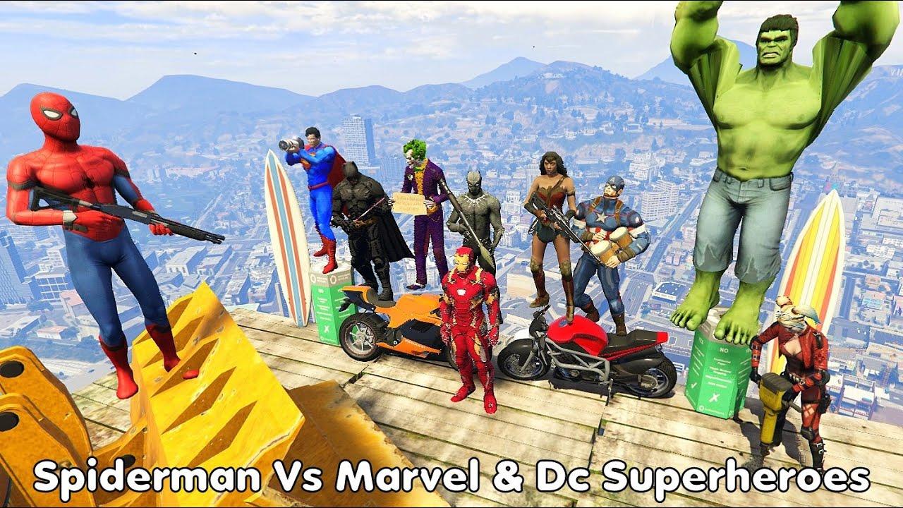 GTA 5 Crazy Ragdolls Spiderman VS MARVEL & DC SUPERHEROES (Euphoria Physics | Funny Moments ) Fails