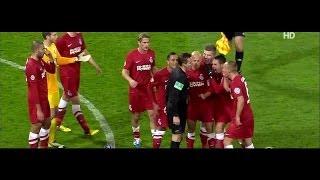 GEILSTE ROTE KARTE EVER Torwart Abwurf = Schiri Rot DFB Pokal KSC-MSV 31.10.12
