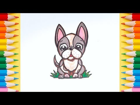 How To Draw And Coloring Book Page A French Bulldog Easy | Cartoon Puppy | Learn Colors For Kids