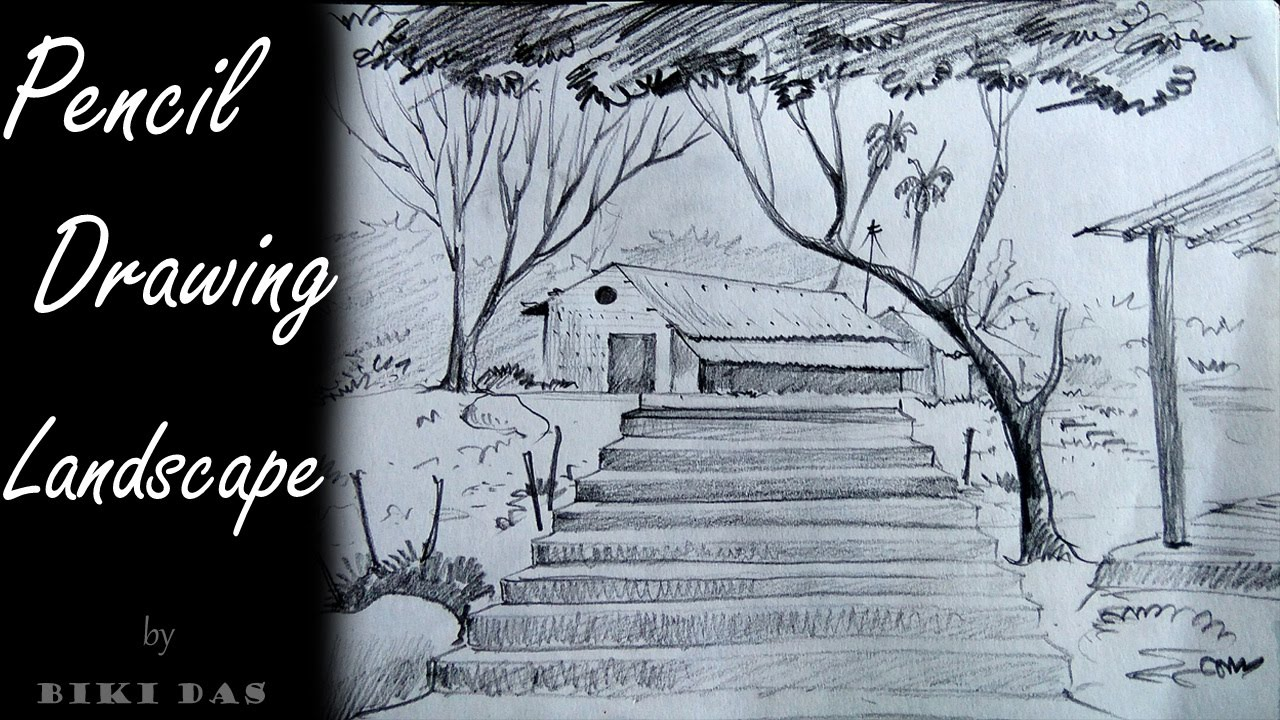 How To Draw Easy And Simple Landscape For Beginners With Pencil