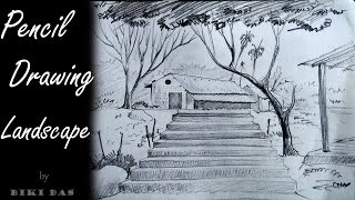 landscape easy drawing beginners pencil simple draw drawings paintingvalley