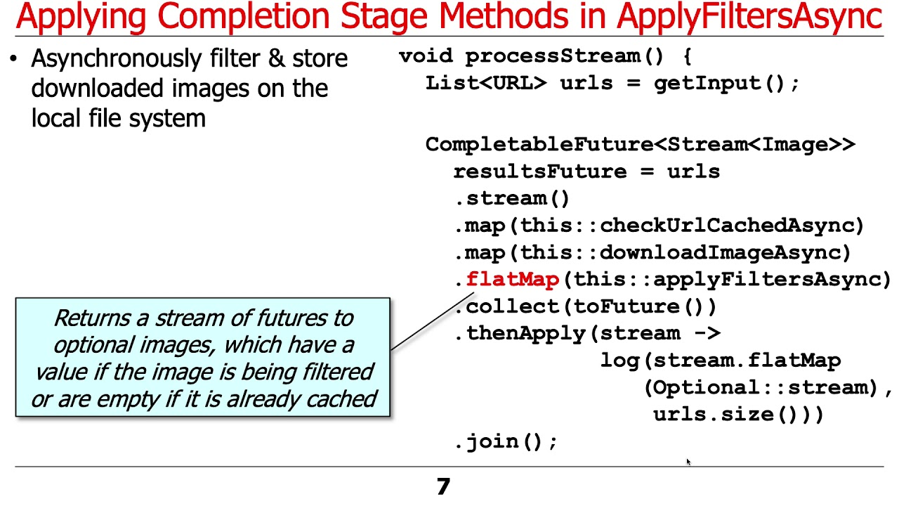 Java CompletableFuture ImageStreamGang Example: Applying Completion Stage Methods (Part 2)