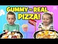 Gummy Food Vs Real Food PIZZA Challenge Family Fun By KIDCITY mp3
