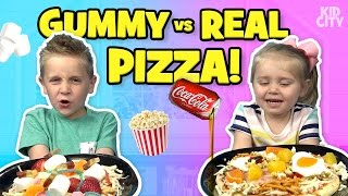 Gummy Food vs Real Food PIZZA Challenge!!! Family Fun by KIDCITY