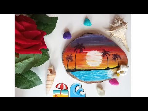 Goa inspired Painting|how to make a beach Painting|wood slice painting|wooden coaster Painting|diy