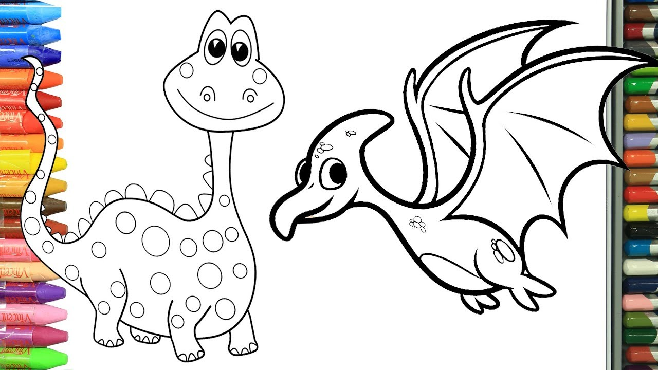 Cómo Dibujar Y Colorear Dinosaurios Dibujos Para Niños Aprender Colores