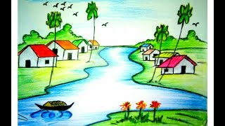 How to draw a village scenery of bangladesh 2017