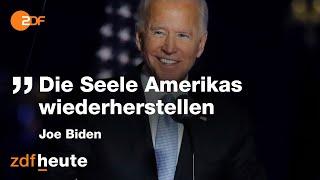 """""""ich wollte dieses amt, um amerika seine seele zurückzugeben."""" in seiner siegesrede hat der designierte us-präsident joe biden versprochen, sich für eine ver..."""