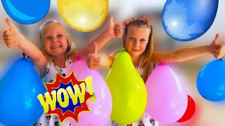 Zoja i Asja igraju igru Iznenadjenja u Balonima. Challenge igra sa Balonima.