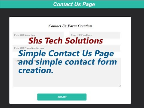 how to create Contact Us page in html  and css   How to create Contact Form in html and css