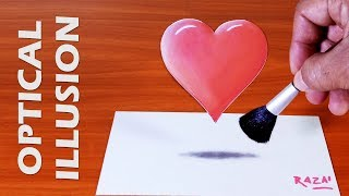 1 Heart & 1 Love forever, 3D Drawing on Paper of a Floating Heart