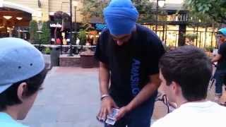 Crazy Live Street Magic: Card appears in mouth! - Amasingh