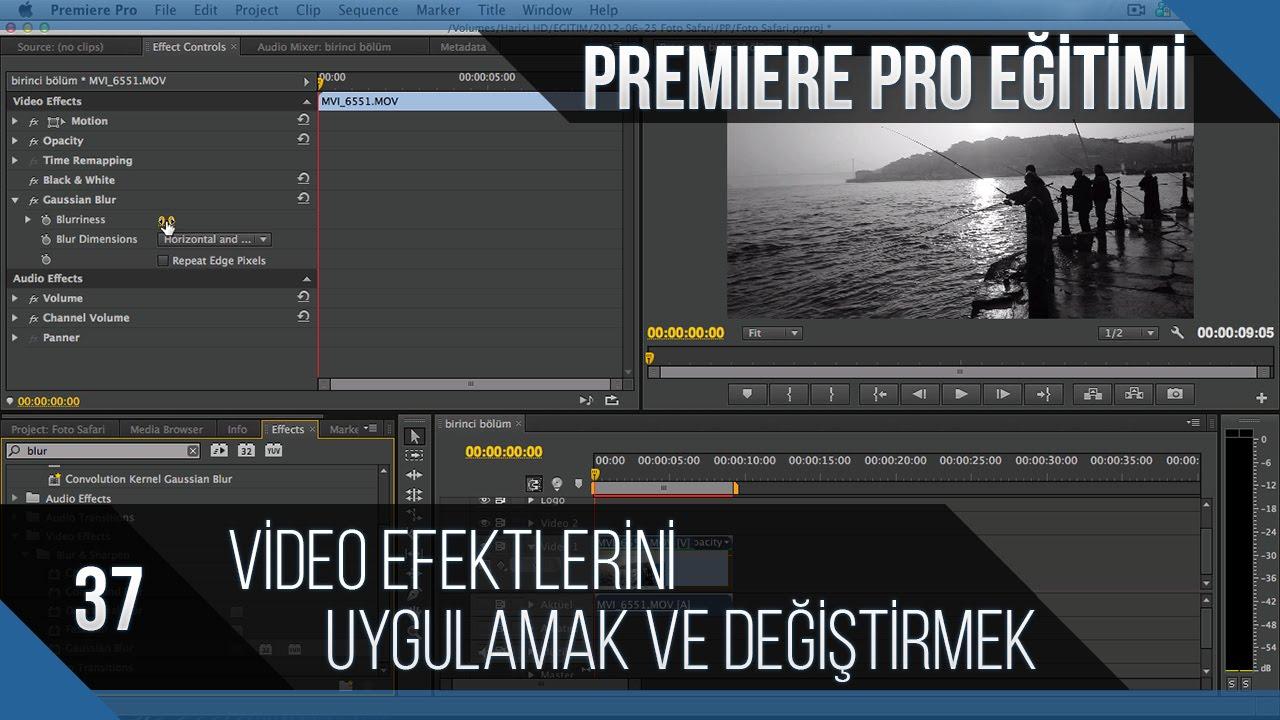 Premiere Pro Eğitimi 37 - Video efektlerini uygulamak ve değiştirmek