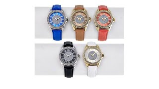Kessaris Set of 5 CrystalAccented Glitter Dial Watches