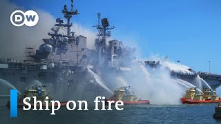 US Navy ship fire threatens to dump 4 million liters of oil off San Diego | DW News