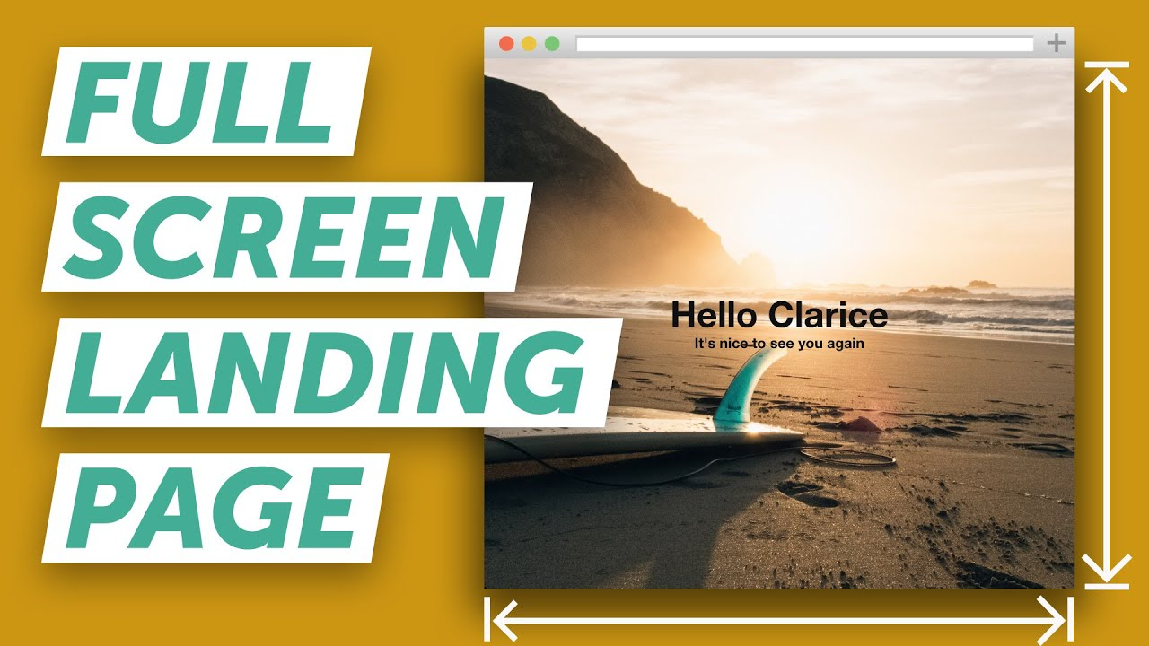 how to make a full screen landing page (html & css) - youtube