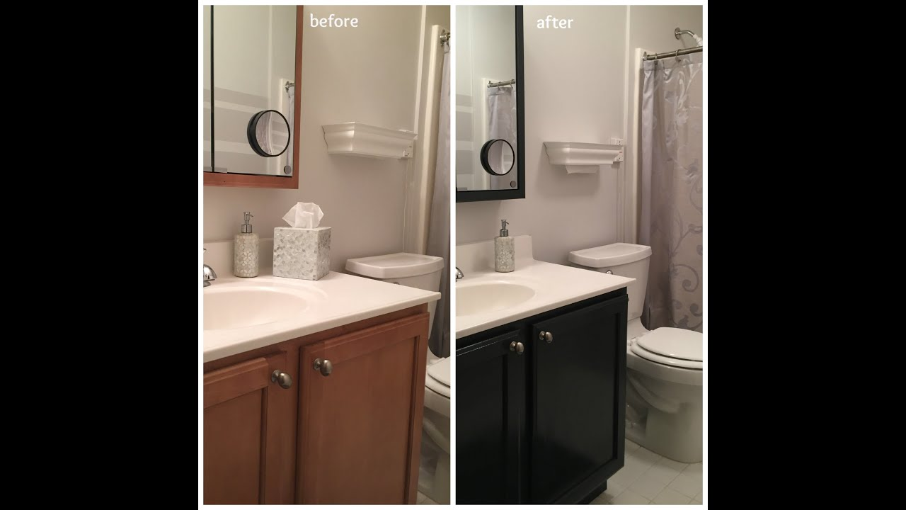 how to update the color of your bathroom vanity cabinet youtube - Bathroom Cabinets Colors