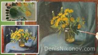 Видео урок живописи. Полевые цветы. Одуванчики