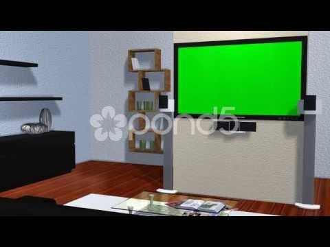 Virtual Studio Room With Animated Green Screen Flat Tv