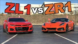 2019 Corvette ZR1 vs 2017 Camaro ZL1!! (Roll Race)
