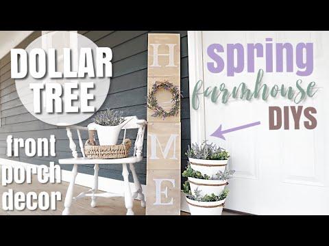 DIY DOLLAR TREE SPRING PORCH DECOR | FARMHOUSE STYLE DIY