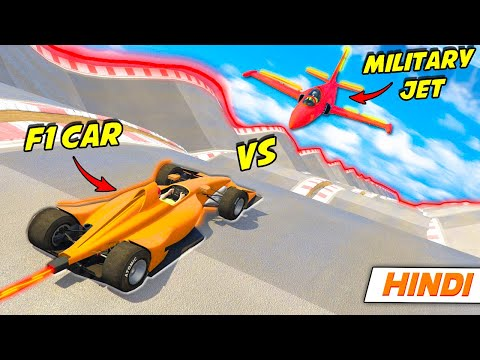 """GTA 5: Funniest """"F1 CAR vs MILITARY JET"""" 😂 Face to Face   GTA 5 Online Hindi Funny Moments   GRound  """