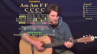 Kill A Word (Eric Church) Guitar Lesson Chord Chart - Capo 2nd - Am C F G