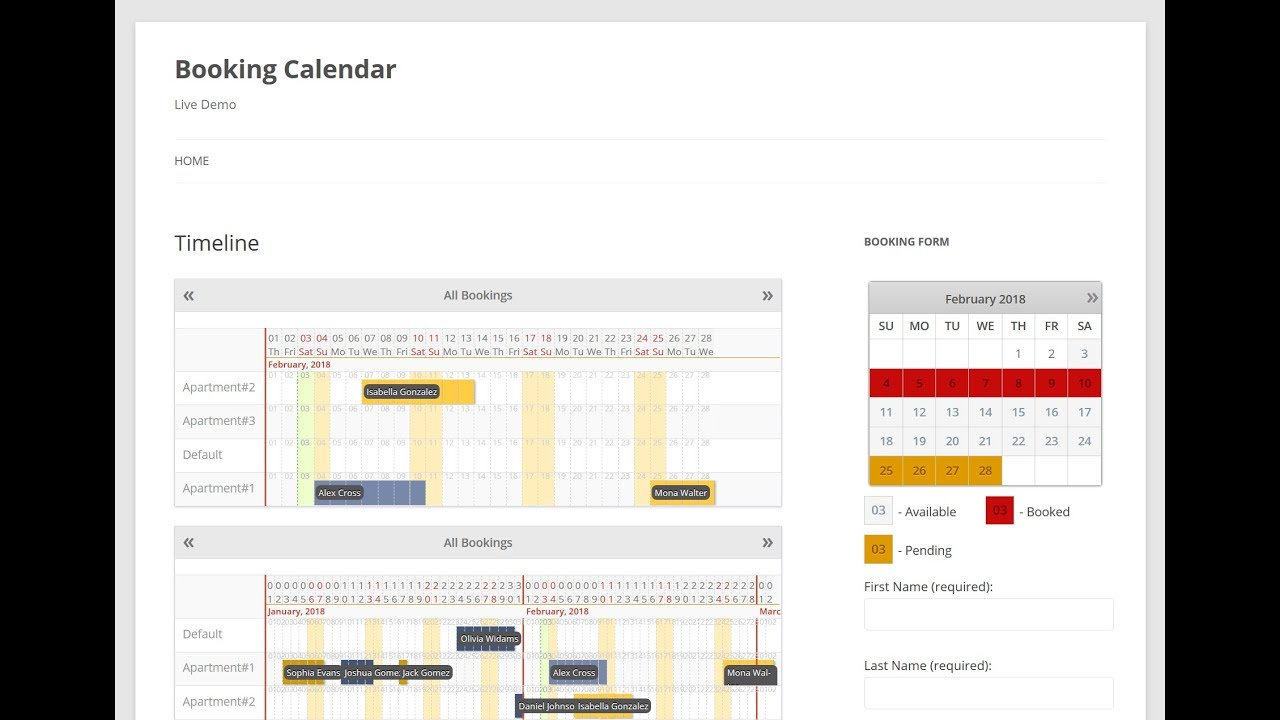 booking calendar inserting into