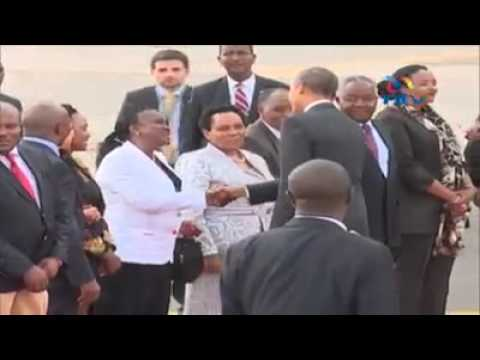 Obama leaving for Addis from Kenya Credit :   NTV Kenya