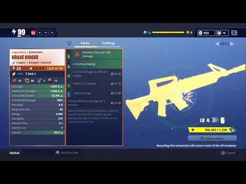 Fortnite: Leveling Up The GRAVEDIGGER | 5,000 Legendary Perk UP | Save The World Pve