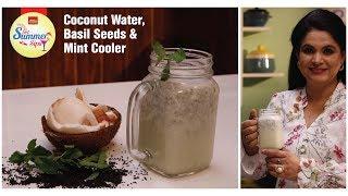 getsummersips coconut water basil seeds mint cooler