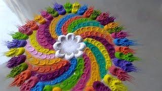Multicolour beautiful attractive easy rangoli design By Bucketful Creation