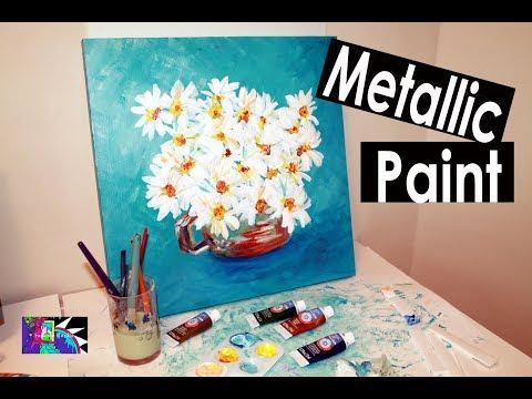 Artist Loft Metallic Paints Review | Daisies | Speed Painting