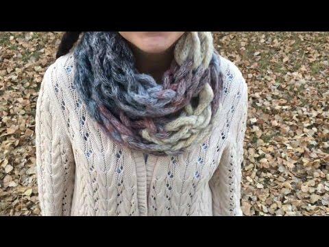 Kol örgüsü ile basit boyunluk yapımı / Arm Knitting DIY