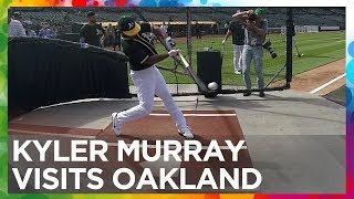 Kyler Murray visits the Oakland Athletics - Swings, Interview, Analysis