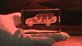 3D-Laser SwissArt AG / 3D Laser Glasgravur / Produktion, Herstellung einer 3D Laser Glasinnengravur