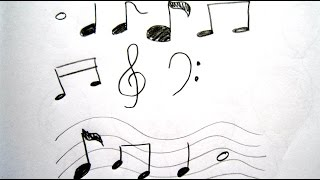 How to Draw Cartoon Music Notes  畫卡通音符 - Easy Drawing Tutorial for Beginners