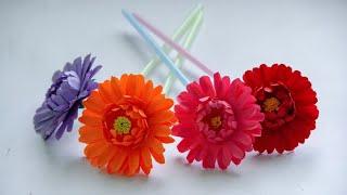 Diy paper flowers / paper flowers / best out of waste ( straw) / diy gerbera flower by KovaiCraft