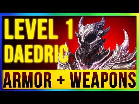 Skyrim Remastered Best DAEDRIC Weapons & Armor ALL Enchanted At LEVEL ONE! (Special Edition Build)