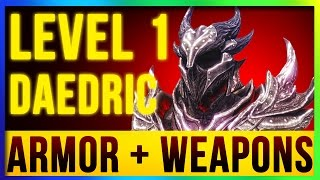 Skyrim Remastered Best DAEDRIC Weapons & Armor ALL Enchanted At LEVEL ONE! (Special Edition Build) thumbnail