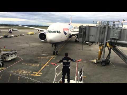 British Airways 777-300 at Seattle Airport approaching gate