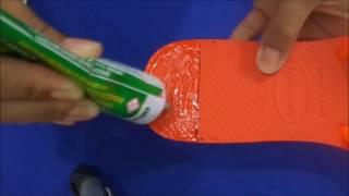 tutorial como colar lonita em chinelo by cida reis