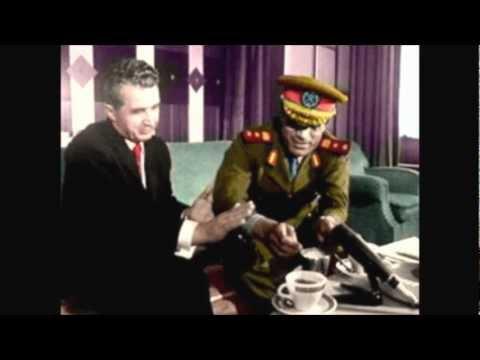 Gaddafi and Ceauşescu: Heroes  راية معمر الخضراء من اجل كل العالم