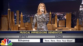 Wheel of Musical Impressions with Céline Dion(Jimmy challenges Céline to a game of random musical impressions, such as Sia singing