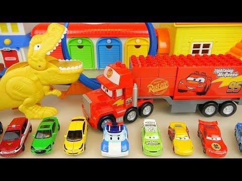 Dinosaur and Poli cars round track play car toys