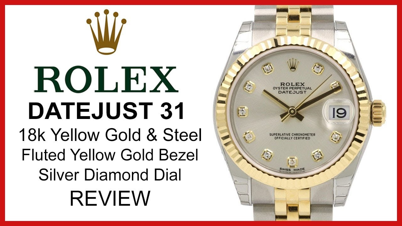 717bfa6a8d7 Rolex Datejust 31, Two-Tone (Yellow Gold & Steel), Diamond Dial, Fluted,  Jubilee Bracelet - REVIEW