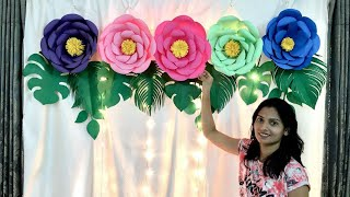 Floral Birthday Decoration at home | Paper Flowers Decoration for Birthday | Paper Flowers art